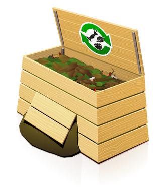 Wooden Compost Bin : open